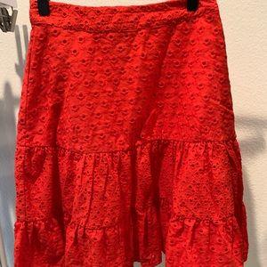 Red eyelet skirt